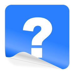 question mark blue sticker icon