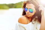 Closeup fashion beautiful woman portrait wearing sunglasses - 65157112