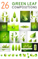 Mega collection of vector green summer concepts