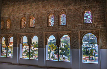 Alhambra Moorish Wall Designs City View Granada Andalusia Spain