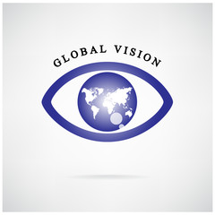 global vision sign,eye icon,search symbol.