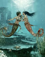 Two Little Mermaids, 3d CG