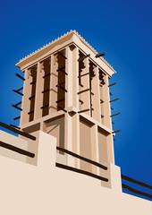 Historical Wind Tower Vector Illustration Dubai, United Arab Emi