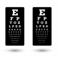 sharp and unsharp black snellen chart