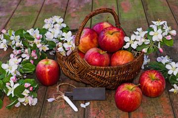 Apfelkorb mit Schild auf Holz, Textfreiraum