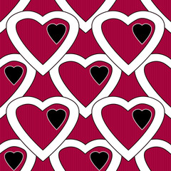 Red white hearts seamless pattern