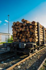 Güterwagen mit Holz beladen