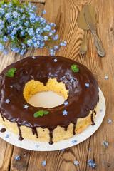 Sponge cake with chocolate icing