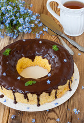Sponge cake with chocolate icing