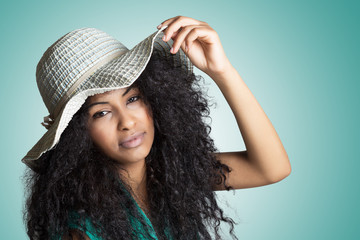 mulatto girl with summer hat