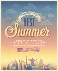 Summer tours poster. Vector illustration.