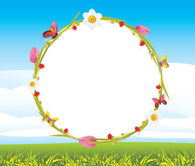 Wreath with butterflies and flowers on the landscape background