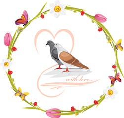 Spring wreath with butterflies and loving doves