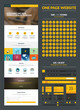 One page website design template, ux/ui kit and icons