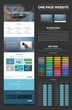 One page website design template, set of elements for web design