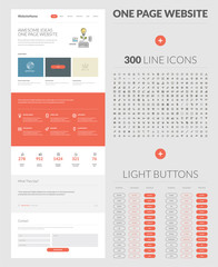 One page website design template, set of icons and buttons
