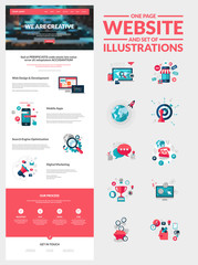 One page website design template and set of flat illustrations