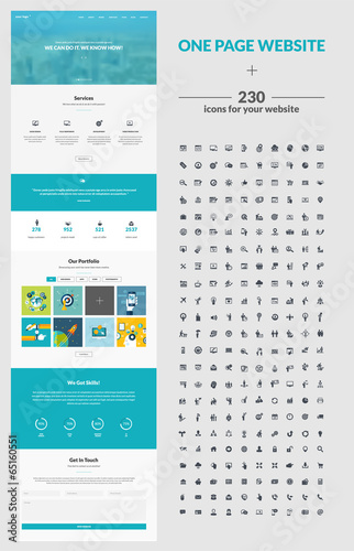 One page website design template and set of icons for web design