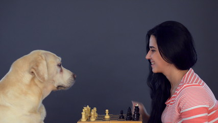 young beautiful woman and labrador playing chess on a dark backg