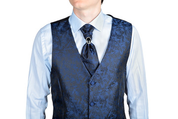 dark blue men wedding vest jacquard fabric