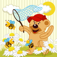 teddy bear catching bee -  vector illustration