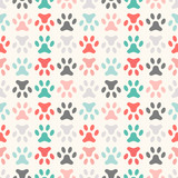 Animal seamless vector pattern of paw footprint. Endless texture