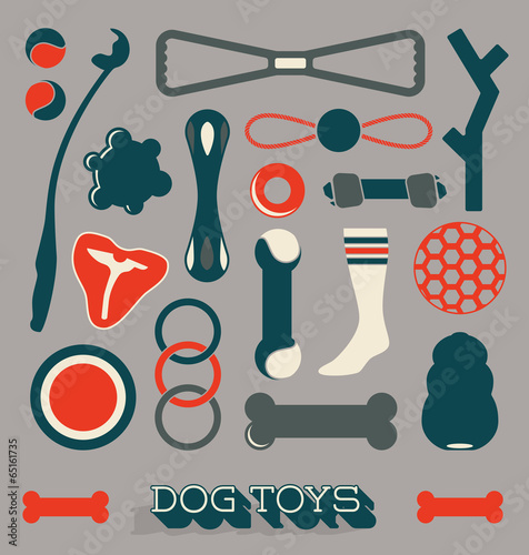 Vector Set: Dog Toys Icons and Objects - 65161735