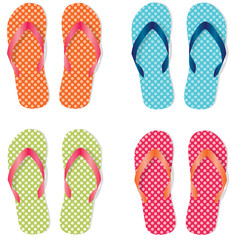 Group of four flip flops or sandals