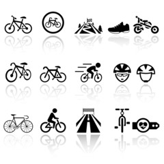 Biking vector icons set . EPS10.