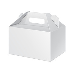 White Small Cardboard Carry Box Packaging For Food, Gift