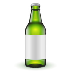 Short Glass Beer Green Bottle With Label