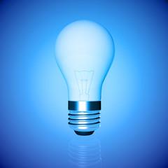 blue lightbulb on a blue background