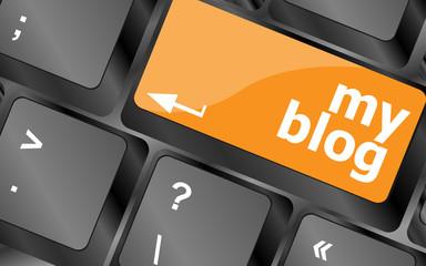 My blog button on the keyboard key close-up, keyboard keys