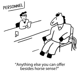 Recruiter interview horse with small credentials