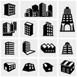 Building vector icons set on gray - 65163103