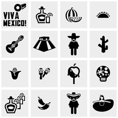 Mexico vector icons set on gray