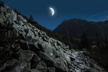 High Tatra Mountains from hiking trail i moon light