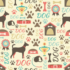 Retro seamless vector pattern of dog icons. Endless texture can