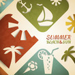 Abstract summer vector illustration. Retro beach