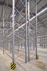 new building lot of high bay stock with steel shelves