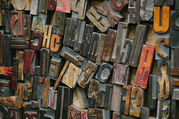 Old wood letterpress letters background