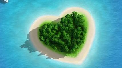 Gorgeous Beach Landscape heart dezoom - magnifique plage coeur