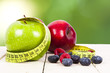 fresh fruit with measuring cintra concept of healthy diet - 65164981