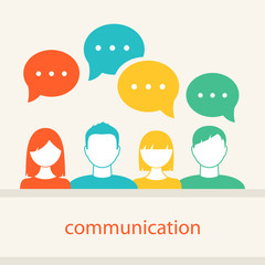 People's Faces Icons. Communication and Teamwork Concept