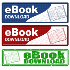 Ebook download icons and grunge stamp