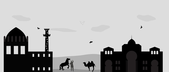 House in the Desert and camel. Vector Illustration