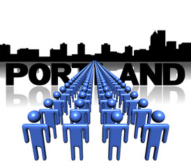 Lines of people with Portland skyline illustration