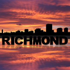 Richmond skyline reflected with text and sunset illustration