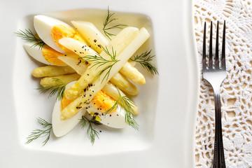 Asparagus salad with egg and  fresh dill