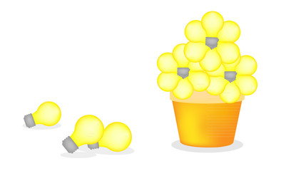 yellow light bulb flower in garden pot illustration